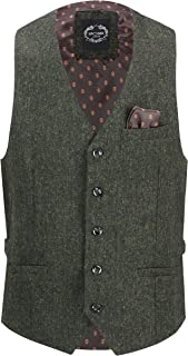 Jim Mens Tweed Waistcoat Retro Classic Tailored Fit Smart Formal 1920s Vintage Styled Vest