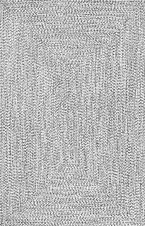 nuLOOM Lefebvre Braided Indoor/Outdoor Rug, 6' Square, Light Grey