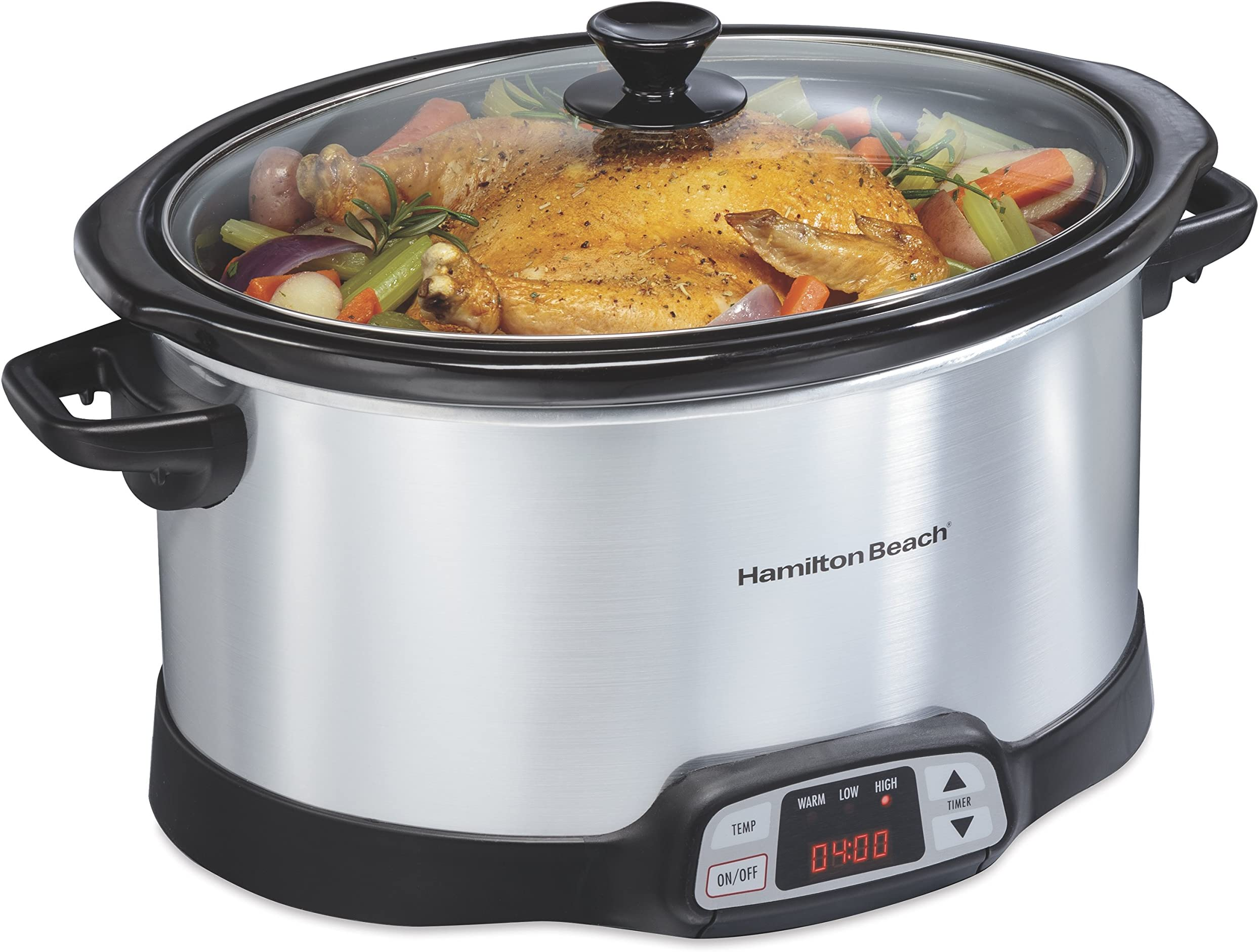 Hamilton Beach 33480 Programmable Slow Cooker with Three Temperature Settings, 8-Quart, Silver