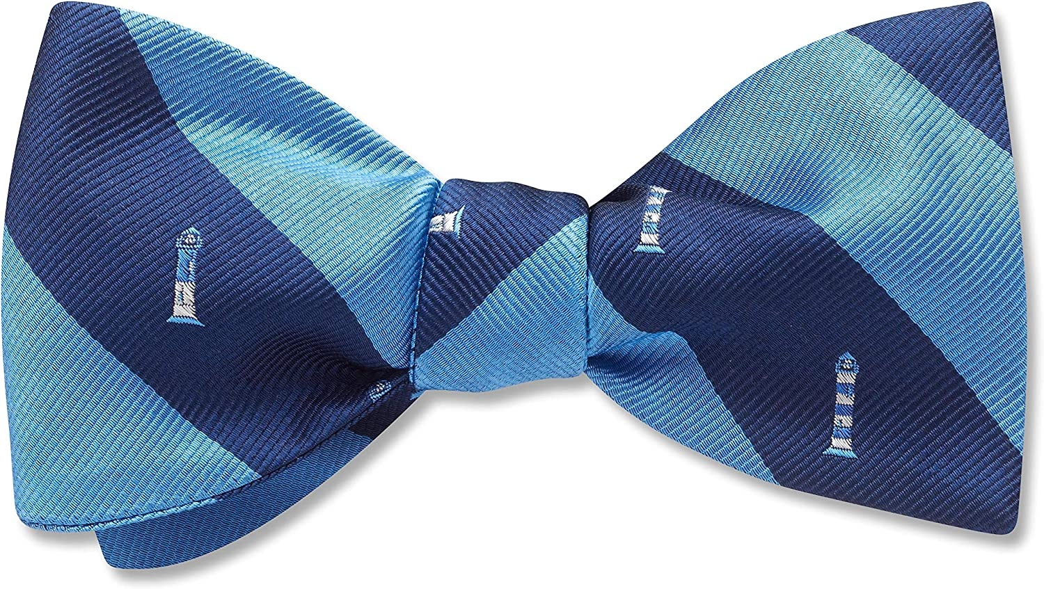 Bass Harbor Striped,Passions & Pleasure,Blue Striped, Men's Bow Tie, Handmade in the USA