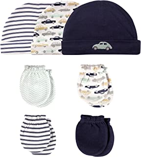 Hudson Baby Baby Girls' Cotton Cap and Scratch Mitten Set