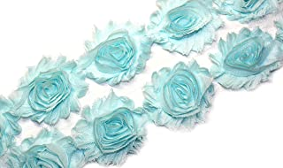 3 Yards/42 Flowers 2.5 Inch Shabby Rose Trim Flowers Chiffon Rosettes (Aqua)