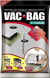 Conjunto Armazenamento à Vácuo, Vac Bag, 1 Saco Médios (45cmx65cm), 2 Sacos Grandes (55comx90cm) + Bomba Plástica, Ordene
