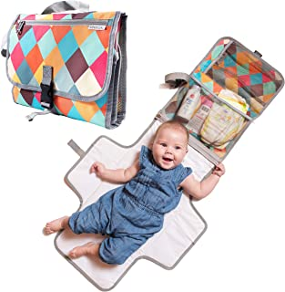 Baby Portable Diaper Changing Pad - Light Travel Clutch and Organizer with Mesh Pockets and Waterproof Mat - Change Station Kit with Head Cushion for Newborn and Infants - Colorful Baby Shower Gift