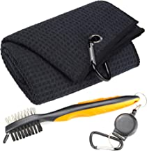 Mile High Life Microfiber Waffle Pattern Tri-fold Golf Towel | Brush Tool Kit with Club Groove Cleaner, Retractable Extension Cord and Clip