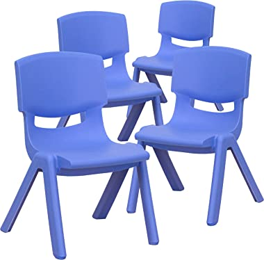 """EMMA + OLIVER 4 Pack Blue Plastic Stackable School Chair with 10.5"""" H Seat, Preschool Chair"""