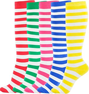Women's Knee High Socks Essential Solid Color Casual Multicolored Stripe Fashion Teen Girls 3-4 pairs