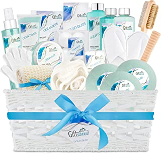 Ocean Bliss Extra Large Spa Bath Gift Basket, Best Mother's Day Gift, Includes 3 Bath Bombs, Shower Gel, Bubble Bath, Lotion, Scrub, Pumice Brush, Glass Candle, Slippers, Massage Stick & 5 More Items