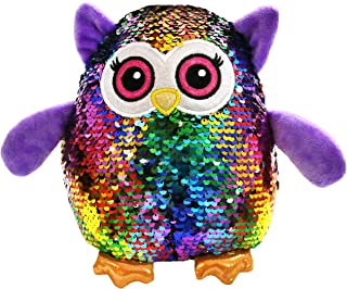 Athoinsu Flip Sequin Stuffed Owl Plush Toy with Reversible Magic Sparkle Sequins Interactive Gift for Kids Toddlers, 8''