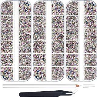 9000 Pieces Hotfix Rhinestone AB 6 Sizes Flatback Round Glass Gemstone Crystal Iron On Rhinestones Glass Stones with Tweez...