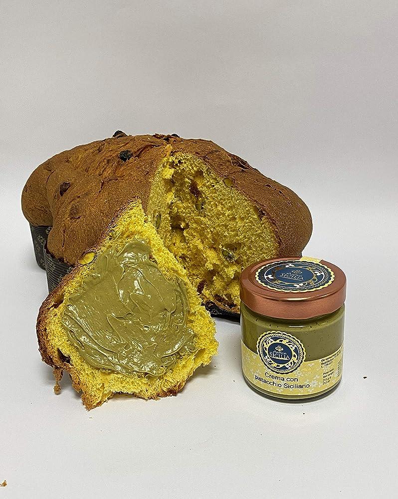 Colomba pasquale artigianale siciliana, 1kg con crema al pistacchio
