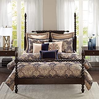 Madison Park Signature Wellington King Size Bed Comforter Duvet 2-In-1 Set Bed In A Bag - Tan Blue , Jacquard – 9 Piece Bedding Sets – Ultra Soft Microfiber Bedroom Comforters