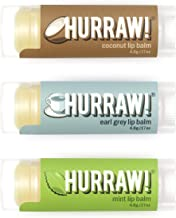 product image for Hurraw! Coconut, Earl Grey, Mint Lip Balms, 3 Pack Bundle: Organic, Certified Vegan, Cruelty and Gluten Free. Non-GMO, 100% Natural Ingredients. Bee, Shea, Soy and Palm Free. Made in USA