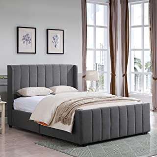 Christopher Knight Home 306984 Riley Fully-Upholstered Bed Frame-Queen-Size-Traditional, Charcoal Gray Black