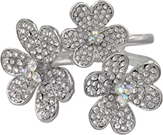 Gypsy Jewels Large Flowers Statement Fancy Rhinestone Bling Big 3 Daisy Hinged Bangle Bracelet - Assorted Colors