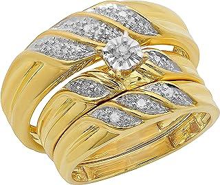 Dazzlingrock Collection Anillo de compromiso de 0,10 quilates (cttw) de diamante blanco redondo para hombre y mujer de 1/1...