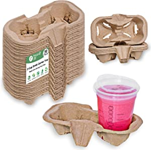 2 Cup Carrier Tray (50-Pack), No-Spill, No-Mess Disposable Cup Holder Tray, Biodegradable, Eco-Friendly Drink Carrier for Delivery of Hot or Cold Drinks, Ideal To Go Drink Holder for Car Food Delivery