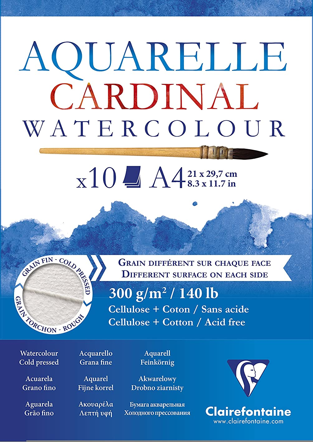 Clairefontaine Cardinal Watercolour Glued Pad, 300 g, A4, 10 Sheets yzykidyfwyb125