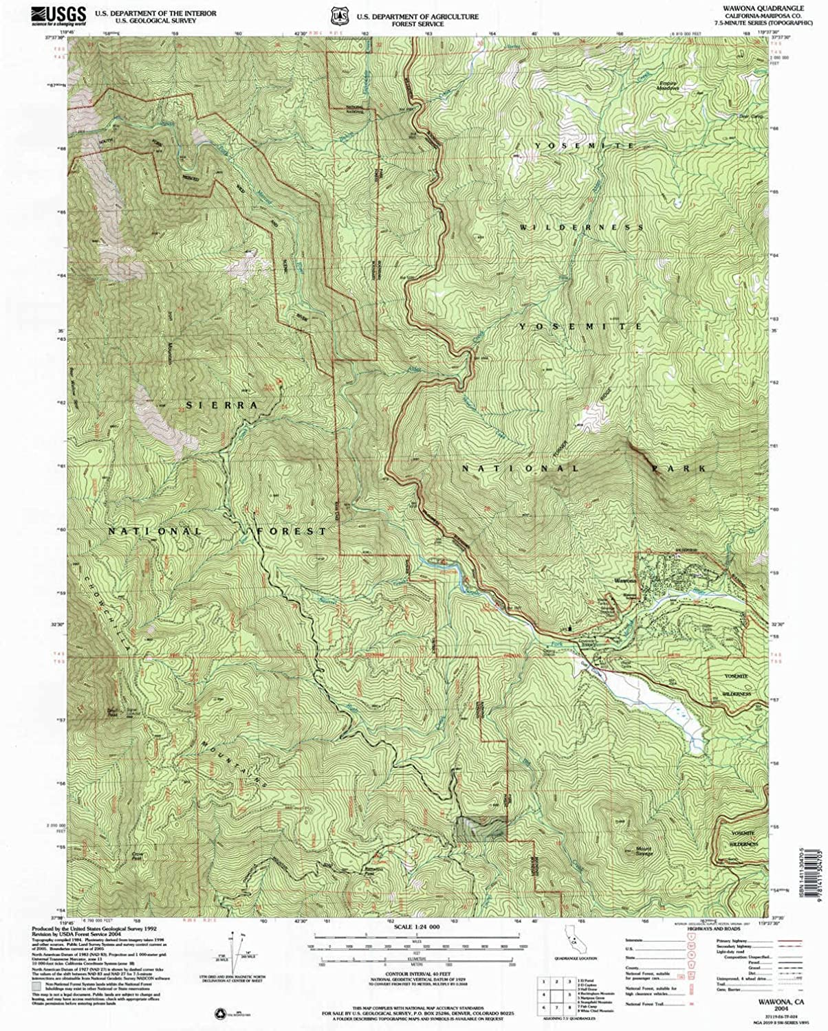 Wawona CA topo map, 1 24000 Scale, 7.5 X 7.5 Minute, Historical, 2004, Updated 2007, 26.9 x 21.5 in