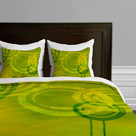 Deny Designs  Stacey Schultz Circle World Yellow Duvet Cover,  Twin/Twin XL