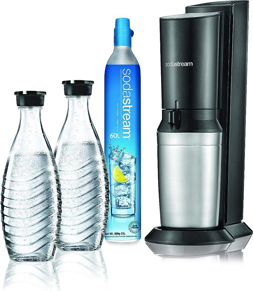 gasatore d`acqua frizzante sodastream 2 bottiglie di vetro e 1 cilindro co2 inclusi 1016512417