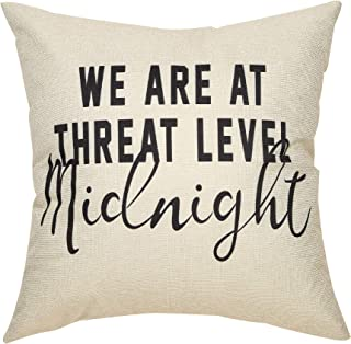 "Fjfz The Office Decotation Funny Quote We are at Threat Level Midnight, Michael Scott Sign Décor Cotton Linen Home Decorative Throw Pillow Case Cushion Cover for TV Lover Sofa Couch, 18"" x18"""