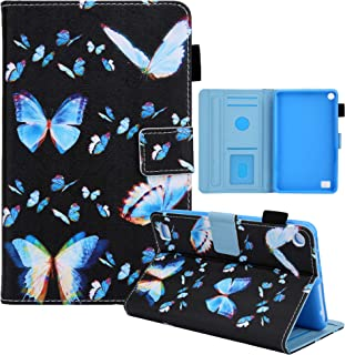 Nova linda capa de couro flip de poliuretano pintada para Amazon Kindle Fire 7 2015/2017/2019 (borboleta de cor dupla)