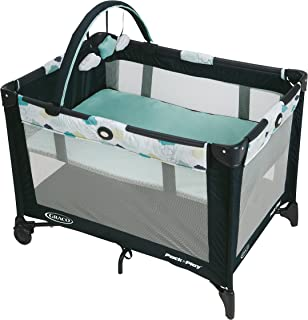 Graco Pack and Play On the Go Playard | Includes Full-Size Infant Bassinet, Push Button Compact Fold, Stratus