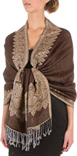 Border Pattern Layered Reversible Woven Pashmina Shawl Scarf Wrap Stole