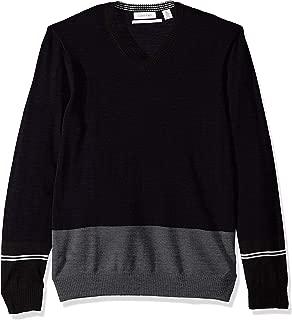 Calvin Klein Men's Merino Sweater V-Neck Stripes
