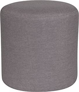 Flash Furniture Barrington Upholstered Round Ottoman Pouf in Light Gray Fabric