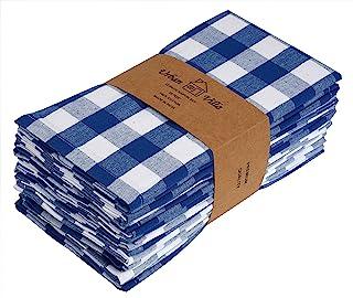 Urban Villa,Buffalo Check Plaid, Premium Quality, Dinner Napkins, 100% Cotton, Set of 12, Size 20X20 Inch, Blue/White Over...