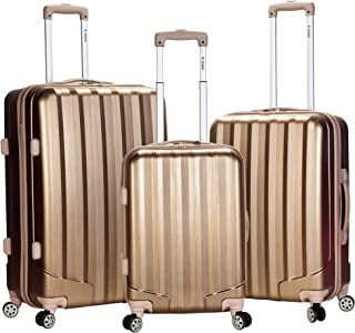 Rockland Luggage 3 Piece Metallic Upright Set, Bronze, Medium