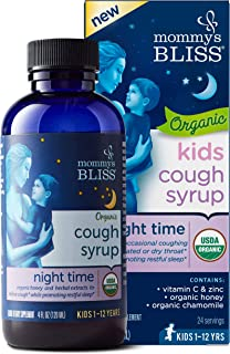 Mommy's Bliss Kids Organic Cough Syrup for Night Time with with Honey, Chamomile, Ages 1 Year+ 4 Fluid Ounce