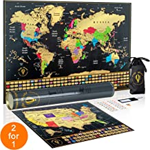 Scratch Off World Map Poster with Scratch Off Map of US -Vibrant Colors- Complete Accessories and Flags | Travel Gift | World Map Wall Art | Scratch Map Where I Have Been Map