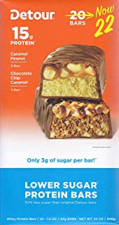 Detour Lower Sugar Protein Bar Variety Pack (22 Count, 1.5 Ounce))