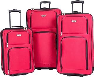 Travelers Club Genova Expandable Luggage Set, Red, 3 Piece