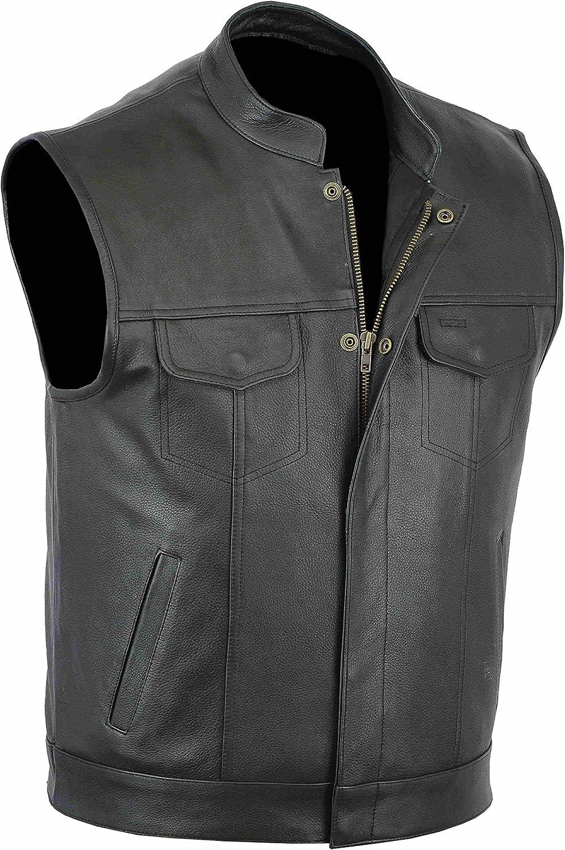Classyak Men's Fashion Stylish Real Leather Biker Vest