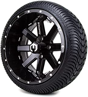 """14"""" MODZ Assault Black Ball Mill Golf Cart Wheels and Low Profile Tires Combo Set of 4"""