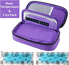 Temperature Display Medical Travel Cooler Bag with Ice Gel Insulin Cooling Case Diabetic Cooler Bag Syringes Chill (Purple)