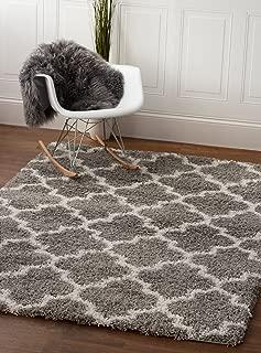 Super Area Rugs Moroccan Trellis Cozy Shag Rug for Home Decor 5' x 7', Gray & White