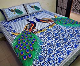 UNIBLISS 100% Cotton Comfort Rajasthani Jaipuri Traditional King Size 1 Double Bedsheet with 2 Pillow Covers - Blue