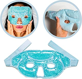 Gel Face Mask Cold Pack – Hot Cold Therapy Gel Bead Full Facial Mask - Ice Mask Migraine Headache – Relaxation Stress Heat...
