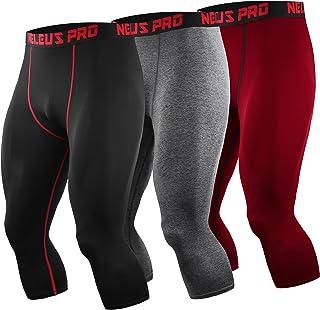 Neleus Men's Dry Fit Compression 3/4 Capri Running Leggings Sports Tights