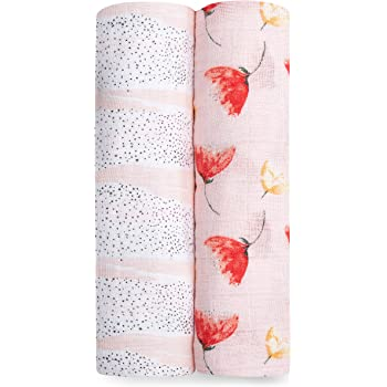 aden + anais Swaddle Blanket   Boutique Muslin Blankets for Girls & Boys   Baby Receiving Swaddles   Ideal Newborn & Infant Swaddling Set   Perfect Shower Gifts, 2 Pack, Poppies