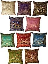 Jaipur Textile Hub 10 Pc Lot Square Silk Home Decor Cushion Cover, Indian Silk Brocade Pillow Cover, Handmade Banarsi Pill...