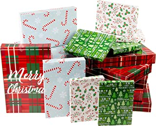 Christmas Gift Box - 24-Pack Gift Wrapping Paper Boxes, Christmas Boxes for Gifts with Lids for Holiday Presents, 3 Sizes, 4 Assorted Festive Designs