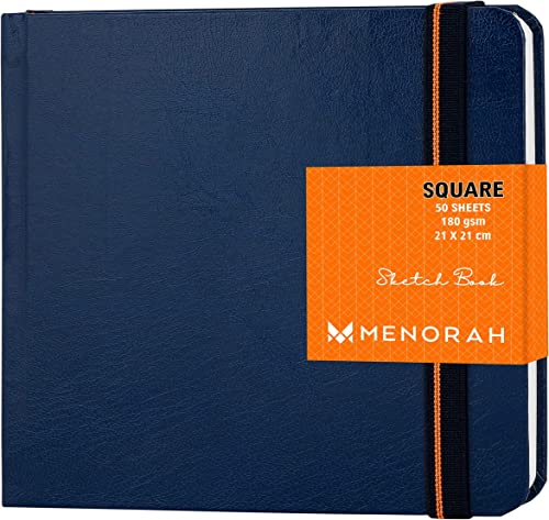 MENORAH Artist Book Square Sketch Book Hard Bound 100 Pages 50 Sheets Artists Drawing Book Beautiful Blue Size 21 0 X 21 0 Cm Big