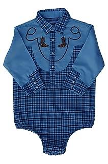 Baby Toddler Western Blue Plaid Cowboy Bodysuit Shirt (9-12 Months)