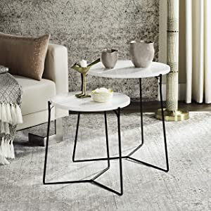 Safavieh Home Collection Ryne Modern White Lacquer Stacking Round Top End Table